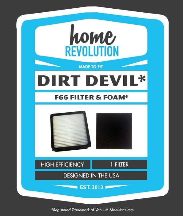 Dirt Devil F-66 Part # 304708001 for Dirt Devil Upright Featherlite UD70100 Model, Comparable Filter and Foam Insert Filter. A Home Revolution Brand Quality Aftermarket Replacement