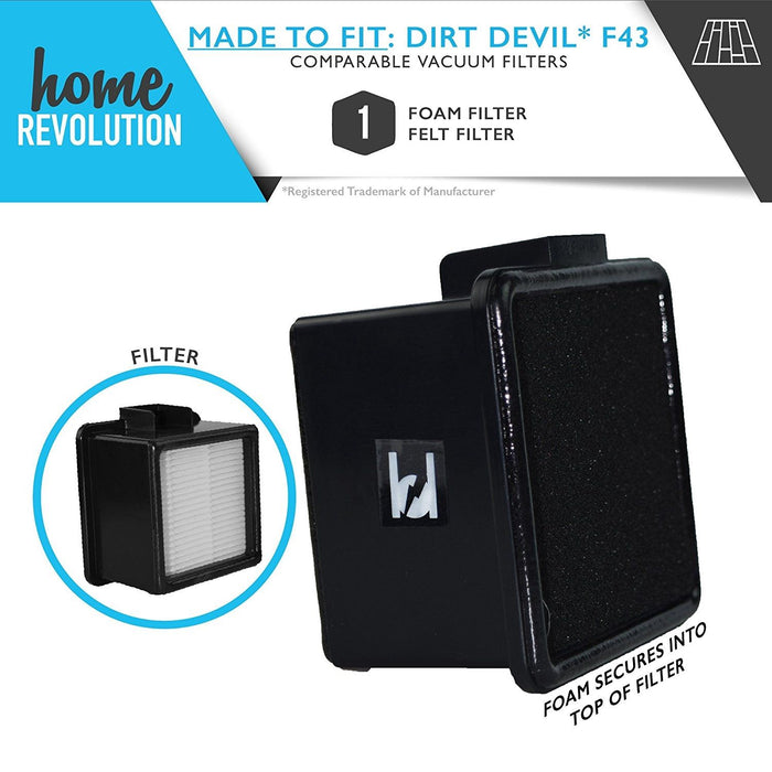 Dirt Devil F43 Part # 2PY1105000 and 1PY1106000 for Dirt Devil EasyLite Cyclonic Quick Vacuum Models, Comparable HEPA Filter & Foam. A Home Revolution Brand Quality Aftermarket Replacement