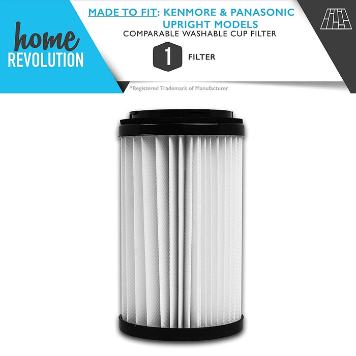 Kenmore DCF1 & DCF2 Part #82720, 82912, 02082720000, 02080008000, 02080000000 for Kenmore & Panasonic Upright Models, Comparable Cup Filter. A Home Revolution Brand Quality Aftermarket Replacement