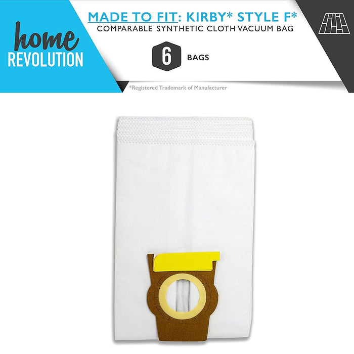 Kirby Style F Part # 204808 and 204808X for Kirby Style F Sentria, Ultimate G Series, Gsix, Sentria, Comparable 6 Synthetic Cloth Vacuum Bags. A Home Revolution Brand Quality Aftermarket Replacement.