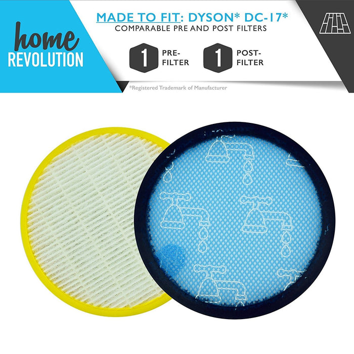 Dyson DC17 Part # 911235-01 & 911236-01 for DC17 Models, Comparable Pre and Post Filter. A Home Revolution Brand Quality Aftermarket Replacement