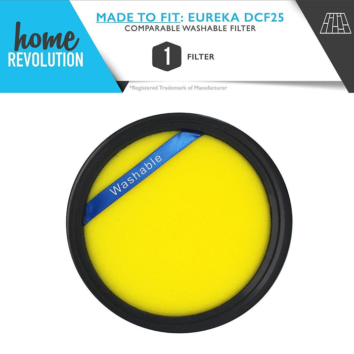Eureka DCF-25 Part # 82982-2 for SuctionSeal AS1100 Series, Endeavor NLS 5400 Series, Nimble EL8600 Series, Comparable Washable Filter. A Home Revolution Brand Quality Aftermarket Replacement