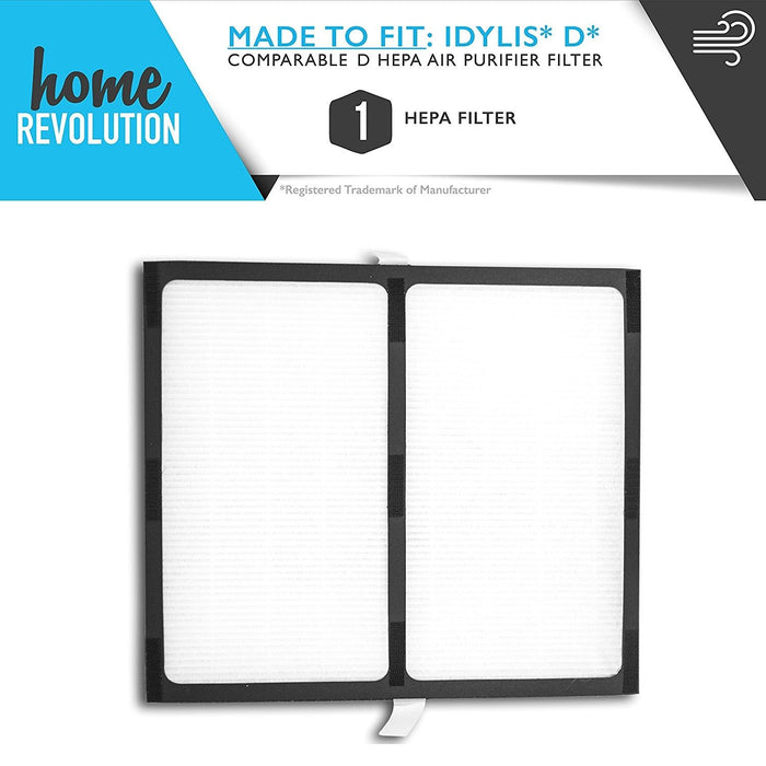 Idylis D Part # IAF-H-100D for Idylis IAP-10-280 Model, Comparable D HEPA Air Purifier Filter. A Home Revolution Brand Quality Aftermarket Replacement