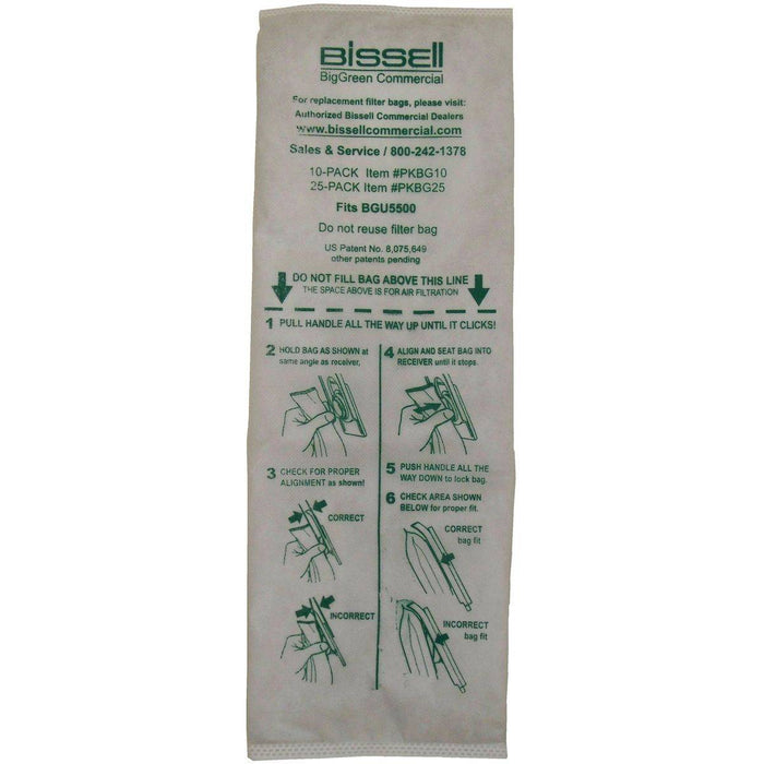 Bissell BigGreen Commercial U5500 Vacuum Bags, Pack of 25