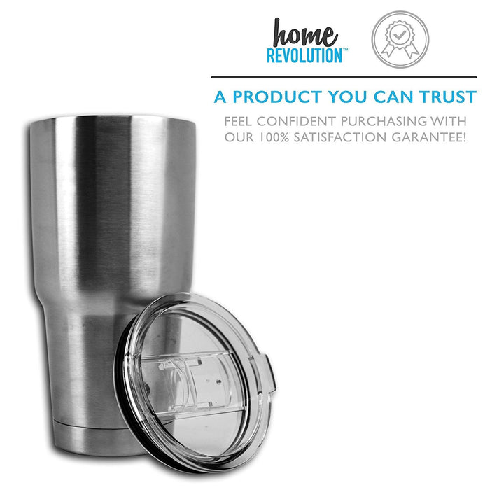 HomeBev 30 oz Stainless Steel Tumbler Drinkware with 2 Sliding Lids. A Home Revolution Brand