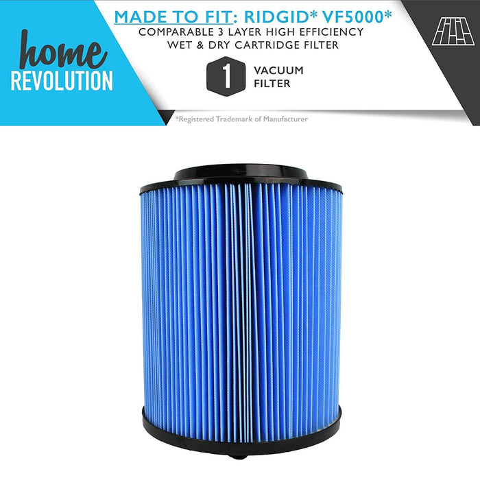 Ridgid Part # VF5000 for Wet / Dry Vacuum Models WD0671, WD0970, WD06700; Comparable High Efficiency Wet & Dry Cartridge Filter; A Home Revolution Brand Quality Aftermarket Replacement