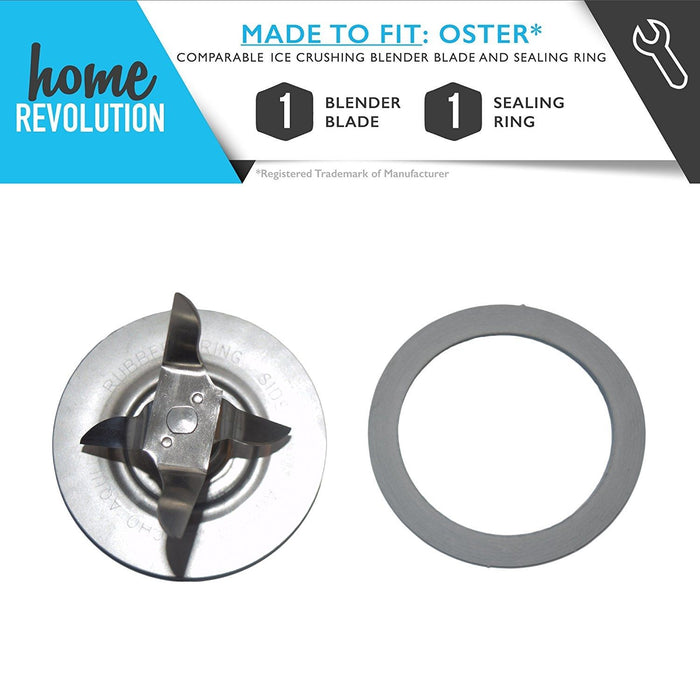 Oster Part # 4961 for Oster 5 and 6 Cup Glass or Plastic Jars, Comparable Ice Crushing Blender Blade and Sealing Ring. A Home Revolution Brand Quality Aftermarket Replacement