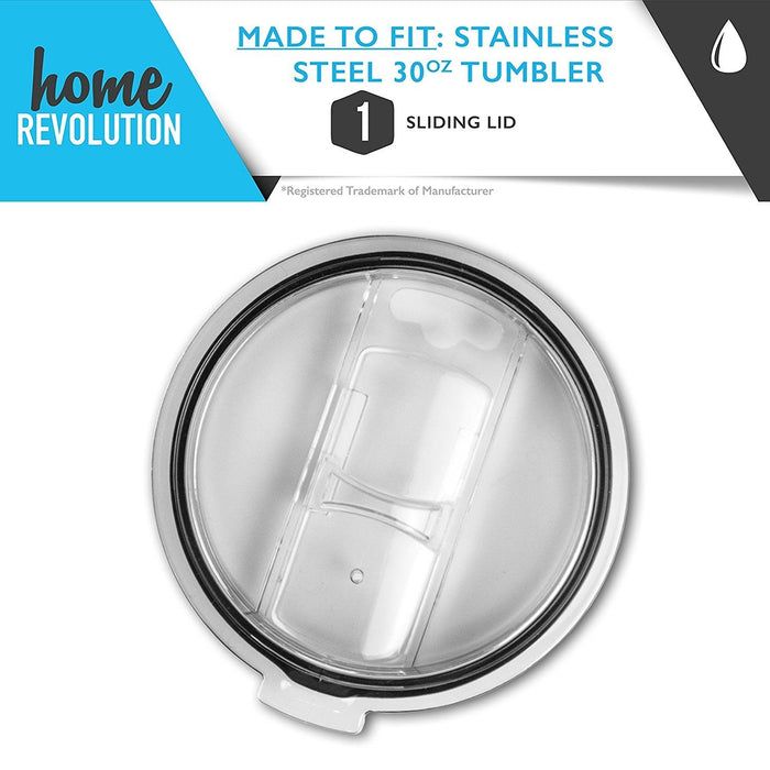 HomeBev Sliding Lid for 30 oz Stainless Steel Tumbler. A Home Revolution Brand.