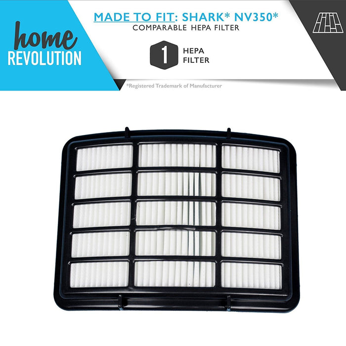 Shark NV350 XHF350 Navigator Lift-Away NV351, NV352, NV355, NV356, NV356E, NV357 HEPA Comparable Aftermarket Filter. A Home Revolution Brand Quality Exclusive Replacement.
