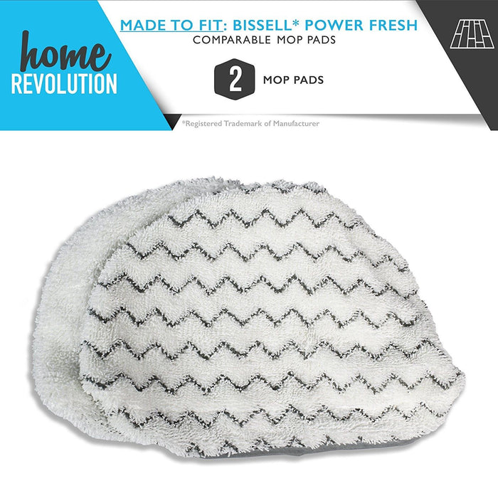 2 Powerfresh Steam Cleaner Mop Pad Microfiber Replacement. Bissell Bissel 5938 and 203-2633 Comparable for 1940 Series Models. Home Revolution Brand Aftermarket Quality.