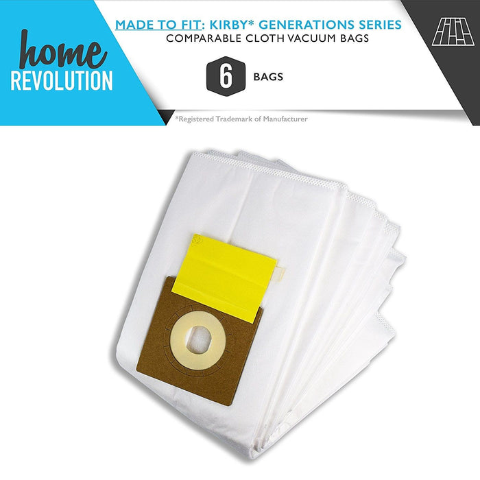 Kirby Generations Part #204803 & 205803 for Generations, G3, G4, G5, G6, Ultimate G, Sentria, Diamond Edition, Comparable Cloth Vacuum Bags. A Home Revolution Brand Quality Aftermarket Replacement 6PK