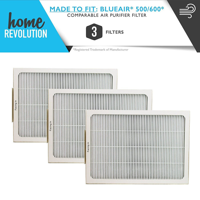 Blueair Part # 501, 503, 550E, 601, 603, 650E for Blueair 500/600 Series, Comparable Air Purifier Filter. A Home Revolution Brand Quality Aftermarket Replacement 3PCS