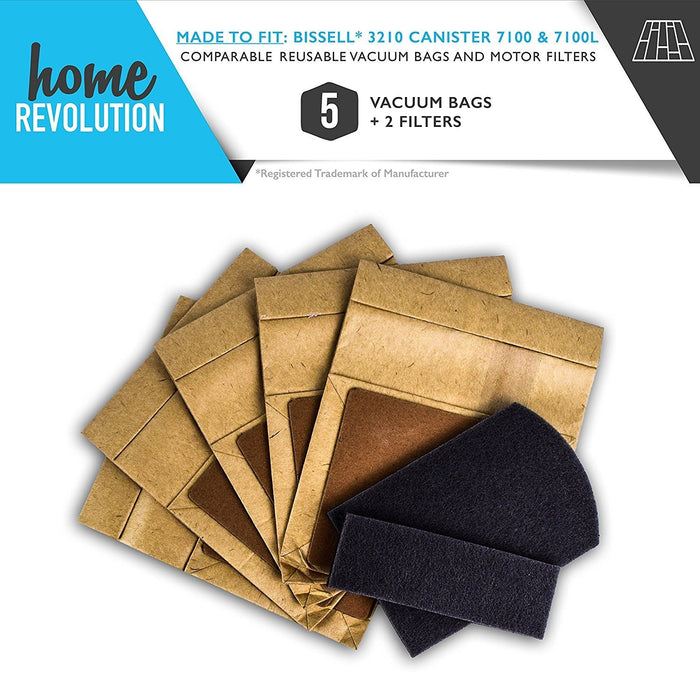 5 Comparable Reusable Vacuum Bags and 2 Motor Filters for Bissell Canister 7100 & 7100L Vacuum. Bissell Zing Part # 3210. A Home Revolution Brand Quality Aftermarket Replacement