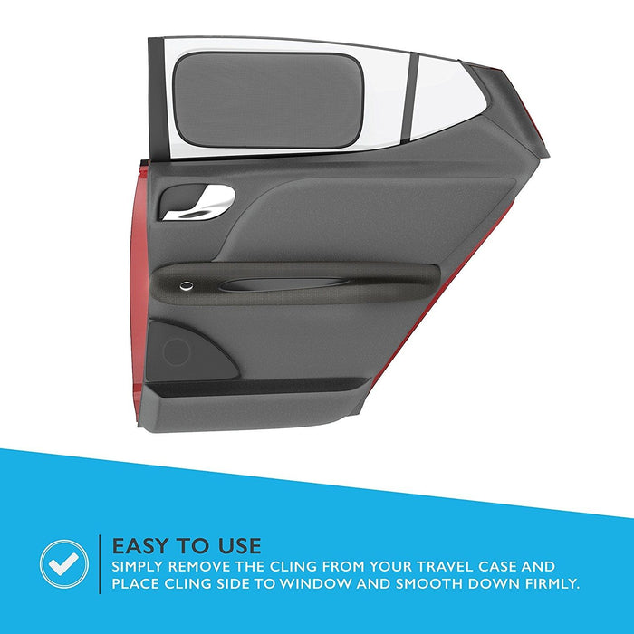 Universal Car Static Cling Side Rear Window Shade Kit with Printed Travel Bag. Provides Sun Ray UV Filter. Protects Babies, Kids, Seniors, Pets from Glare. Cling Shadey, A Home Revolution Brand 2PK
