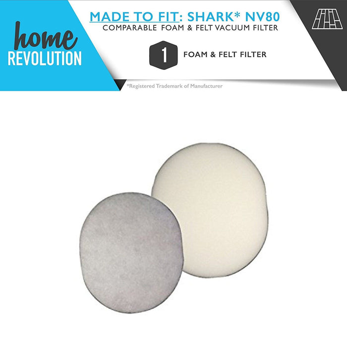 Shark NV80 Part # XFF80 for Shark NV80,UV440 and UV420 Models, Comparable Foam and Felt Filter. A Home Revolution Brand Quality Aftermarket Replacement