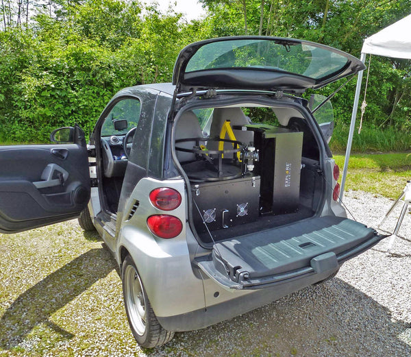 The Explore Scientific 16-inch Truss Tube Dobsonian packs neatly in this Smart Car!