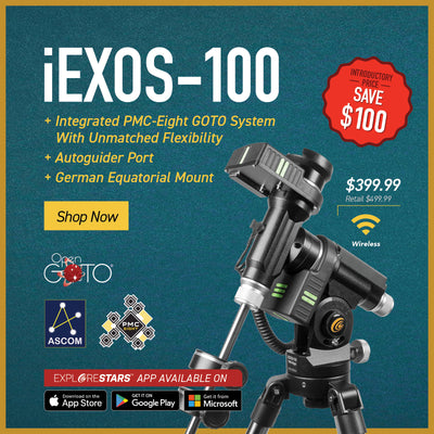 iEXOS-100 PMC-Eight GOTO System -Save $100 - Integrated PMC-Eight GOTO System with Unmatched Flexibility, Autoguider Port, German Equatorial Mount
