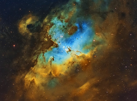 The Eagle Nebula in the Hubble Palette narrowband filters by Chuck Ayoub with his Explore Scientific ED127 Essential Series Refractor