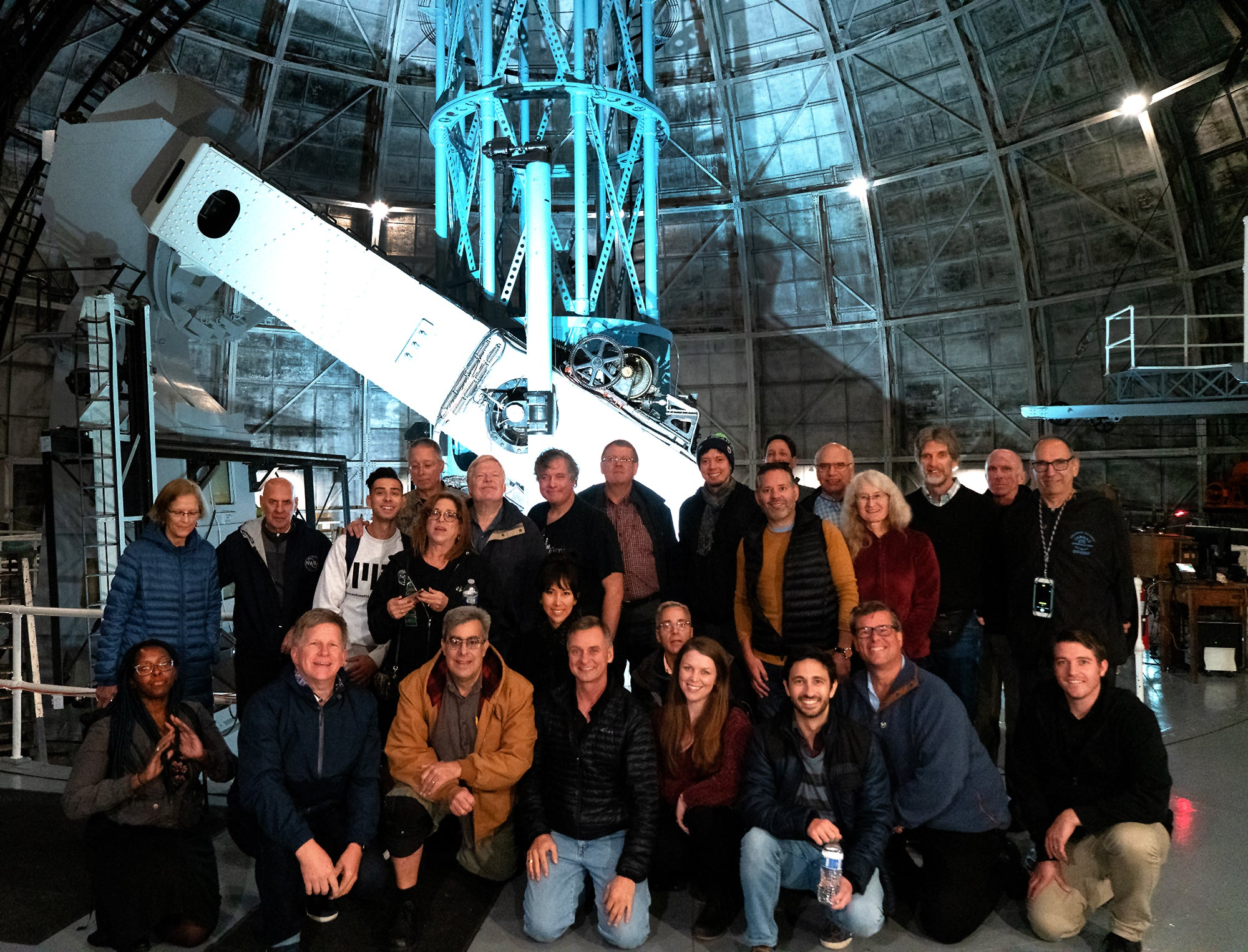 Explore Alliance Members assemble in front of the Historic 100-inch Hooker Reflecting Telescope at Mt. Wilson Observatory
