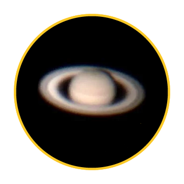Saturn captured in 2018 by Wil Young through the eyepiece of the 60-inch at Mt. Wilson Observatory
