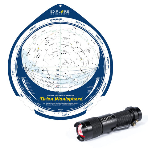 Double-Sided Multi-Latitude Tirion Planisphere with Astro-R Light
