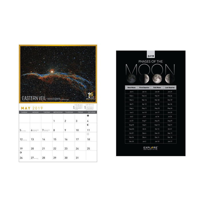 Explore Scientific 18-Month Wall Calendar + Moon Phases (2018-2019)