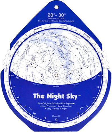 The Night Sky Planisphere Large Plastic 20 to 30 Degrees
