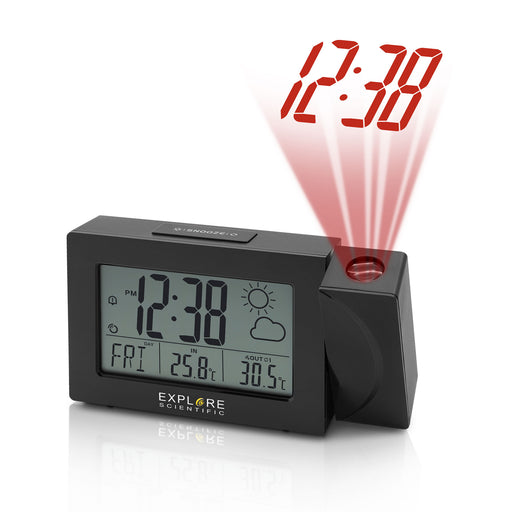 Explore Scientific Projection Radio Controlled Clock with Weather Forecast Display and Outdoor Sensor