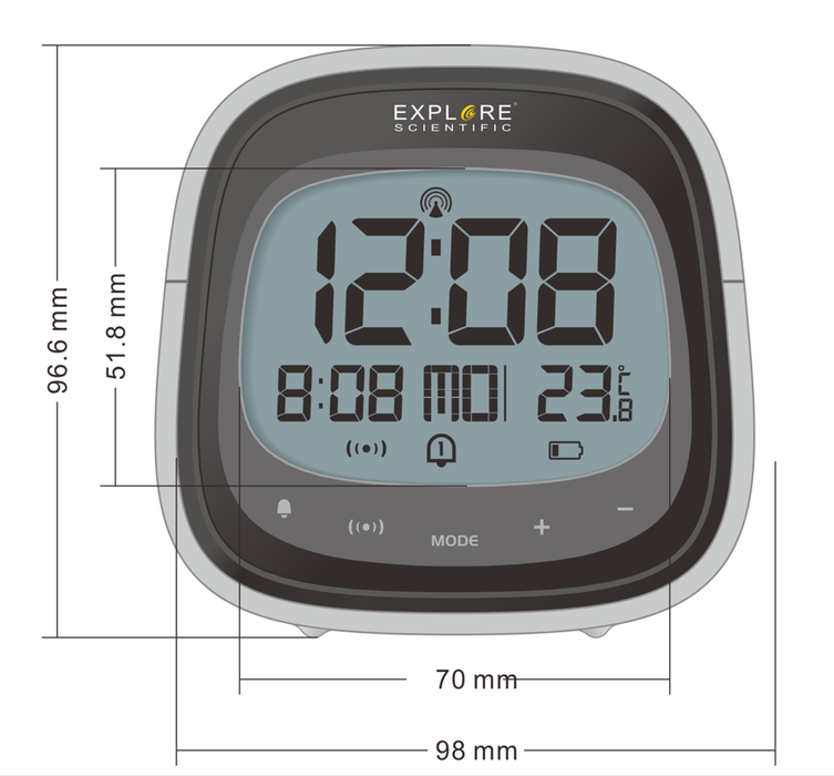 COMING SOON! Explore Scientific Touch Key Radio Controlled Clock