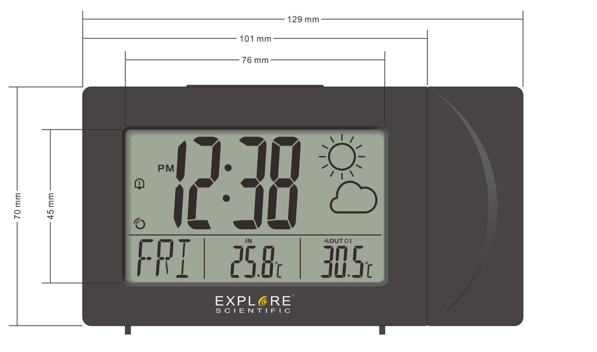COMING SOON! Explore Scientific Projection Radio Controlled Clock with Weather Forecast Display and Outdoor Sensor