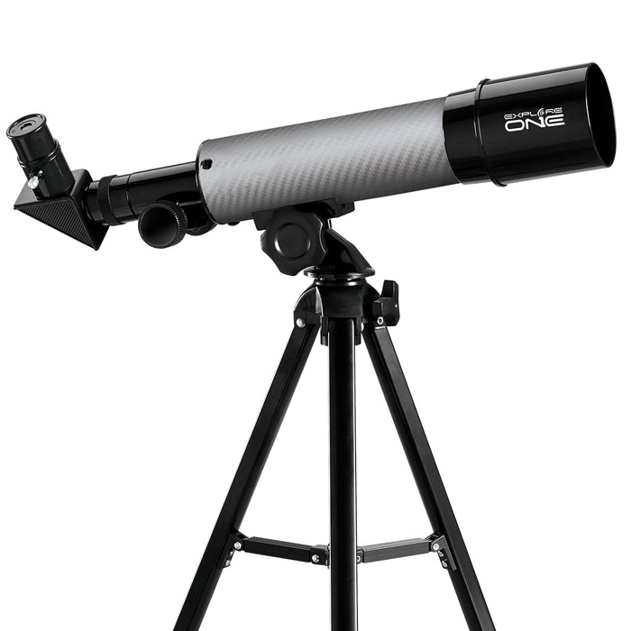 Explore One CF350 Silver Carbon Fiber 50mm AZ Mount Telescope