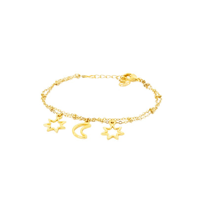 Dream Bracelet - gold bracelet featuring sun and moon charms