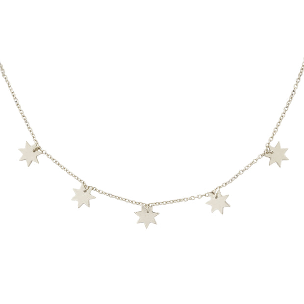 Close Up of Constellation necklace featuring Silver star charms