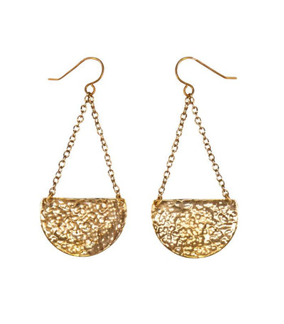 Handcrafted Hammered Brass Crescent Earrings