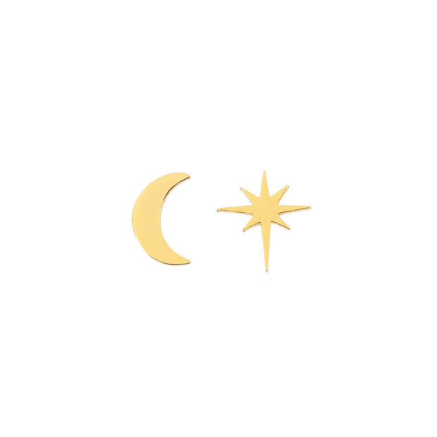 Mix and match moon and star earrings in gold - Galaxy Studs