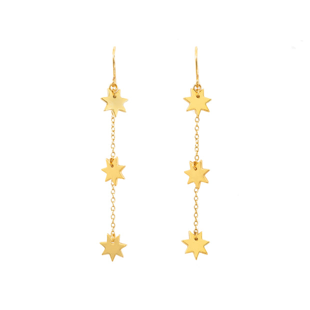 Night Sky threader Earrings - ethically handcrafted star earrings in gold