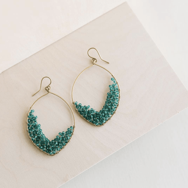 Dawn Drops - Ethically Handcrafted Brass Teardrop Earrings with Teal Beads that give back to non-profit  - International Sanctuary