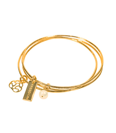 Handcrafted 14K Gold Bangle with Charms