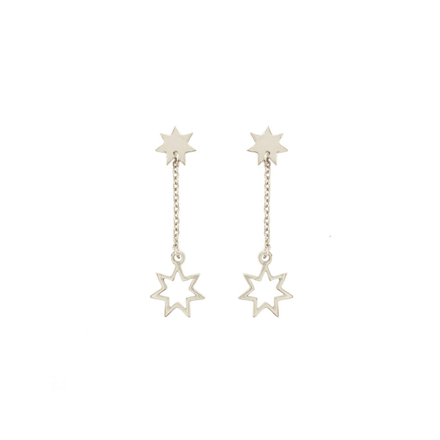 Celestial Star Dangle earrings in silver