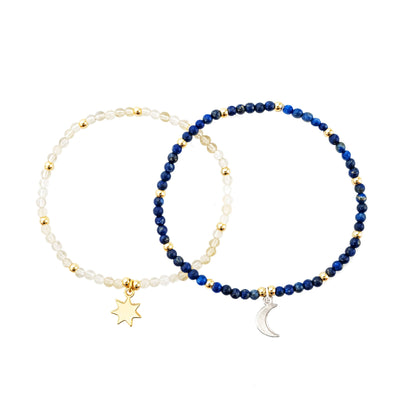 Sun and Moon Friendship Bracelets - ethically handcrafted friendship bracelets featuring semi-precious stones - lapis and yellow crystals
