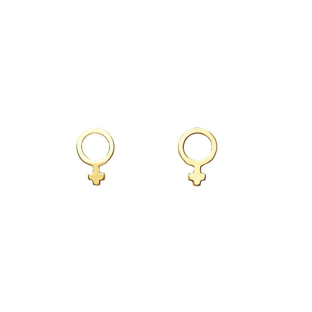 Virtue Studs - Brass handcrafted studs featuring the Woman Sign. Made in India by young women escaping human trafficking. Dainty Studs for everyday use