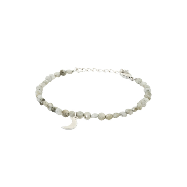 Wish Stone Bracelet - moon charm and semi-precious Grey Speckled Labradorite bracelet