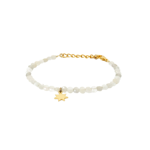 White Moonstone bracelet with gold star charm ethically handcrafted