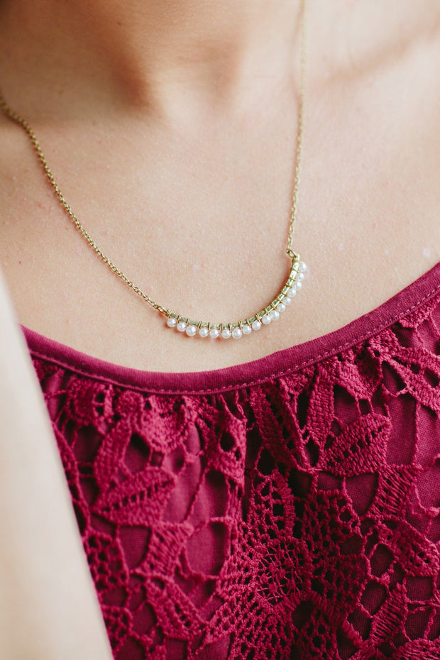 Handcrafted Brass Bar Necklace With Faux Pearls