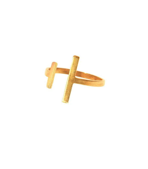 Handcrafted Brass Asymmetrical Ring