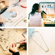 Ava Necklace - the making of the Ethically Handcrafted Brass Half Moon Necklace that gives back to non-profit