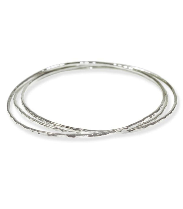 Handcrafted Rhodium Bangle Bracelets