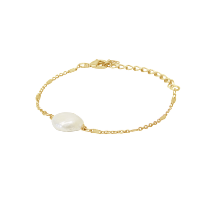 Baroque Bracelet - ethically handcrafted pearl and 14k gold bracelet that gives back to non-profit - International Sanctuary to empower survivors of human trafficking