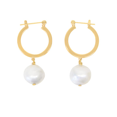 Baroque Hoops - ethically handcrafted 14k gold pearl earrings that give back to non-profit - international sanctuary