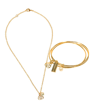 Handcrafted 14K Gold Necklace and Bangle Set